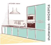 kitchen room interior.vector... | Shutterstock .eps vector #444243916