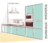 kitchen room interior.vector... | Shutterstock .eps vector #444243916