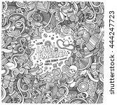 cartoon cute doodles hand drawn ... | Shutterstock .eps vector #444247723