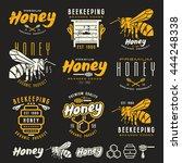 set of honey labels  badges ... | Shutterstock .eps vector #444248338