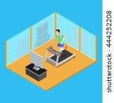 sporty man running on treadmill ... | Shutterstock .eps vector #444252208