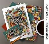cartoon cute colorful vector... | Shutterstock .eps vector #444253390