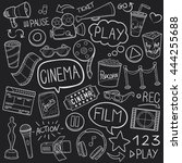 blackboard cinema film day... | Shutterstock .eps vector #444255688