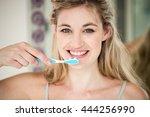 portrait of smiling woman... | Shutterstock . vector #444256990