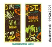 summer time hand drawn doodle... | Shutterstock .eps vector #444263704