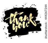 thank you card. hand lettering... | Shutterstock .eps vector #444267244