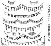 doodle set   bunting and... | Shutterstock .eps vector #444276670
