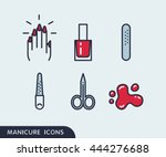 set of manicure simple icons.... | Shutterstock .eps vector #444276688