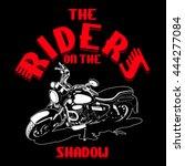the riders shadow vector print... | Shutterstock .eps vector #444277084