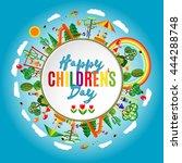 happy children's day. ... | Shutterstock . vector #444288748