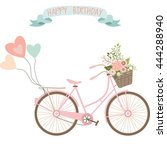 wedding bicycle with flowers... | Shutterstock .eps vector #444288940