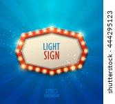 retro light sign. vintage style ... | Shutterstock .eps vector #444295123