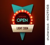 retro light sign. vintage style ... | Shutterstock .eps vector #444295408