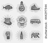 set of hand drawn vintage... | Shutterstock .eps vector #444297544