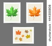 vector postage stamps with... | Shutterstock .eps vector #444300808
