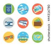 vector travel flat icons.... | Shutterstock .eps vector #444316780