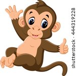 cartoon cute monkey | Shutterstock .eps vector #444319228