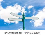 blank road sign on blurry blue... | Shutterstock . vector #444321304