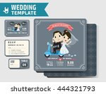 set of wedding invitations... | Shutterstock .eps vector #444321793