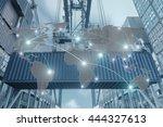 map global logistics... | Shutterstock . vector #444327613