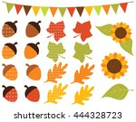 fall   autumn sunflowers and... | Shutterstock .eps vector #444328723