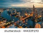 chao phraya river and bangkok... | Shutterstock . vector #444339193