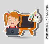 children using laptop at school ... | Shutterstock .eps vector #444339988