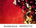 christmas retro card border... | Shutterstock . vector #444341713
