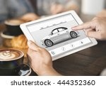 car rental salesman automobile... | Shutterstock . vector #444352360