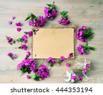 top view of  frame of flowers...   Shutterstock . vector #444353194