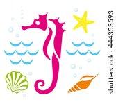 summer  the underwater world....   Shutterstock .eps vector #444353593