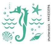 summer  the underwater world.... | Shutterstock .eps vector #444353596