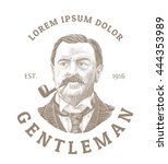 vintage logo with bold man... | Shutterstock .eps vector #444353989