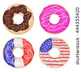 set of sweet glossy donuts... | Shutterstock .eps vector #444355420