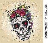 human skull with flower wreath... | Shutterstock .eps vector #444357208
