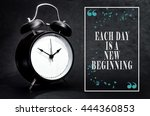 black alarm clock isolated on... | Shutterstock . vector #444360853