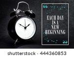 black alarm clock isolated on... | Shutterstock . vector #444360853