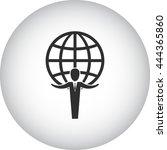 businessman standing near globe ... | Shutterstock .eps vector #444365860