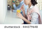 woman drinking coffee in the... | Shutterstock . vector #444379648