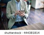 handsome man working with...   Shutterstock . vector #444381814