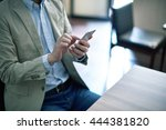 handsome man working with...   Shutterstock . vector #444381820