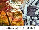 japanese kimono woman and red...   Shutterstock . vector #444388894