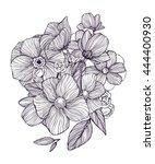black and white ornamental... | Shutterstock .eps vector #444400930