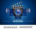 online movie theater cinema art ... | Shutterstock .eps vector #444409099