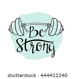 fitness bodybuilding hand drawn ... | Shutterstock .eps vector #444412240