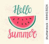 vector print with watermelon.... | Shutterstock .eps vector #444415024