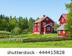 Red Farm House In Rural...