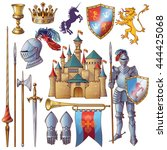 knight decorative icons set... | Shutterstock .eps vector #444425068