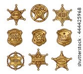 golgen sheriff badges with... | Shutterstock .eps vector #444425968