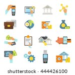 banking service icon flat set... | Shutterstock .eps vector #444426100